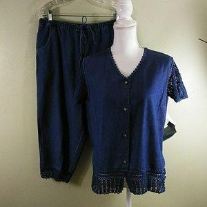 Crochet Trim Denim Capri Pants Outfit PM/L NWT
